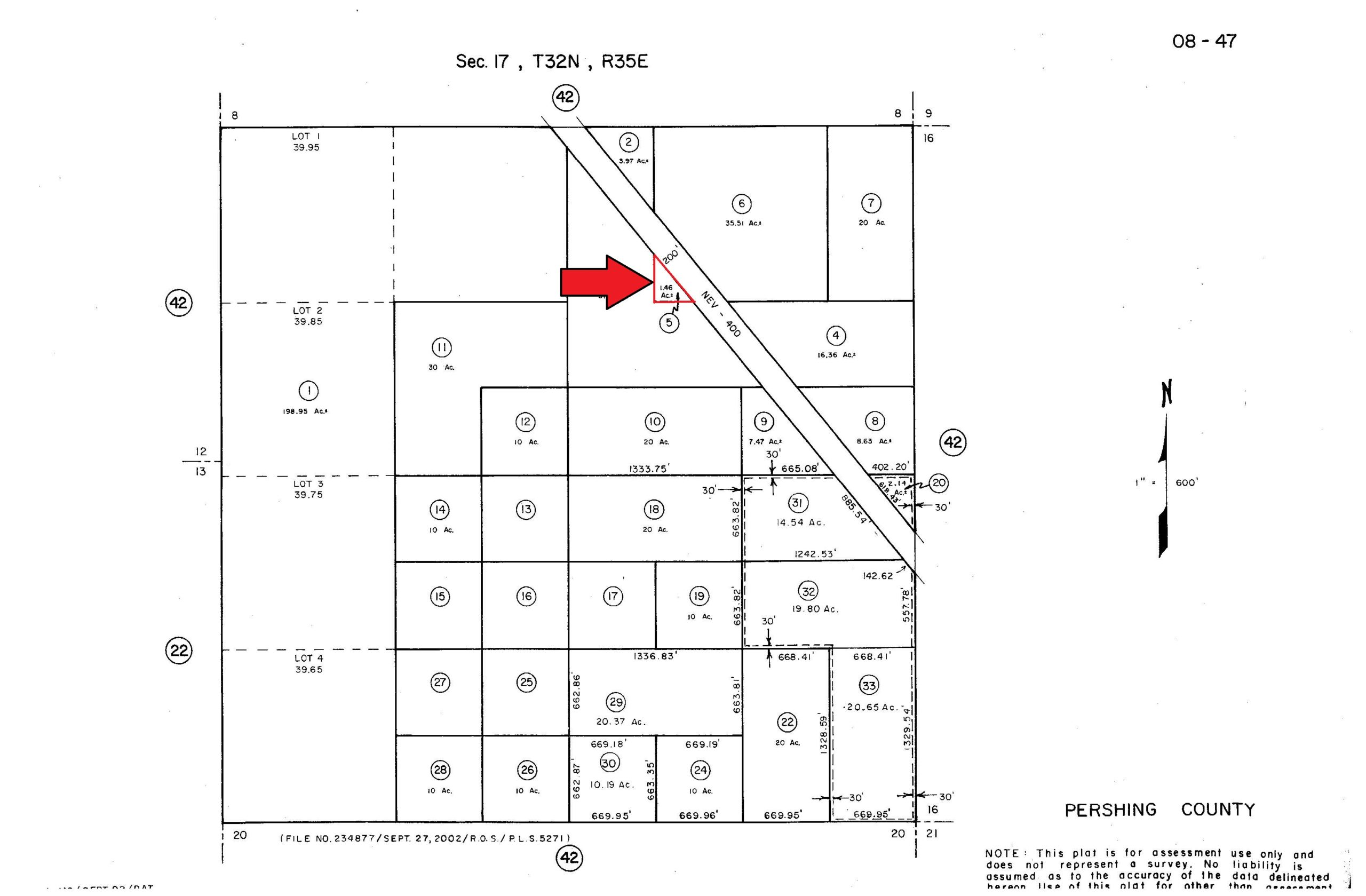 HWY 400 Pershing County – 1.5 Acres – Two Miles South of I-80